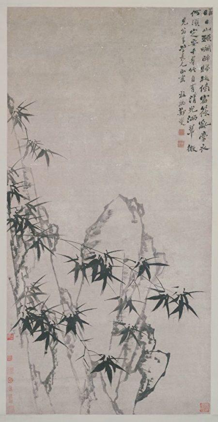 郑燮《竹石图》轴。(公有领域)