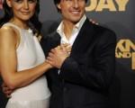 好萊塢巨星湯姆•克魯斯與妻子凱蒂•霍爾姆斯(圖/CRISTINA QUICLER/AFP/Getty Images)