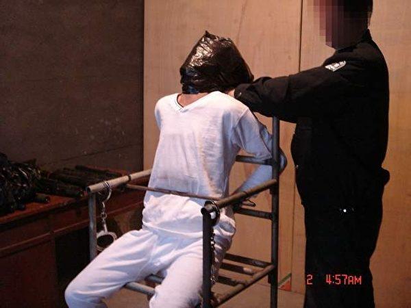 酷刑演示图:塑料袋套头、用在电炉子上刚烤完的。 (明慧网)