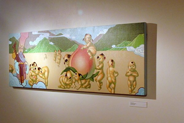 洛杉矶越华裔画家黄春凤(Phung Huynh)的百子祝寿图(摄影:刘菲/大纪元)