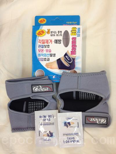 可有效祛除角質的保濕、保溫去角質補水襪套(攝影:王曉蓮/大紀元)