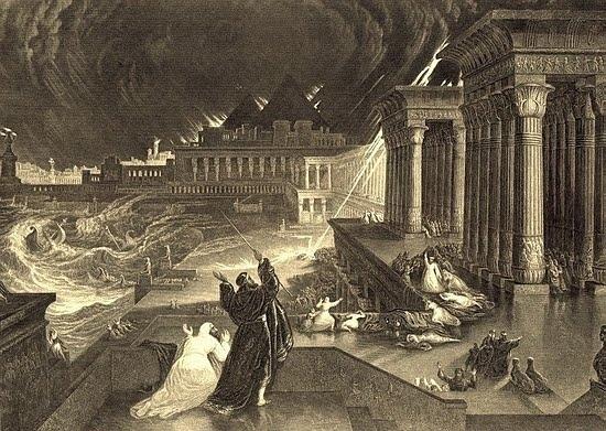 約翰・馬丁(John Martin)1828年雕刻的埃及第七次災難——冰雹之災。(公有領域)