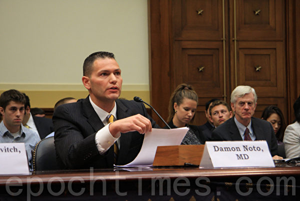 """9月12日下午﹐美国国会举行以""""中共活体摘取宗教与政治异议人士的器官""""为主题的听证会。图为Damon Noto发言。((摄影﹕文忠/大纪元)"""