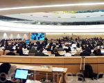 9月18日,两个国际非政府组织在联合国人权大会上提出要求联合国紧急调查发生在中国的法轮功学员器官被活摘及被盗卖的人权惨案,与会的各国驻联合国代表 及非政府组织成员听取报告后深感震惊。当日会议议程是世界190多个国家的代表和在联合国获得观察员身份的200多人权组织代表听取国际驻联合国非政府组 织关注的世界人权焦点议题。(大纪元图片)