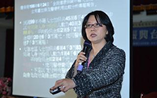人權律師童文薰以「本勞、外勞脫鉤」為導引,提出「台灣走出困境的錦囊妙計」。(攝影:蘇玉芬/大紀元)