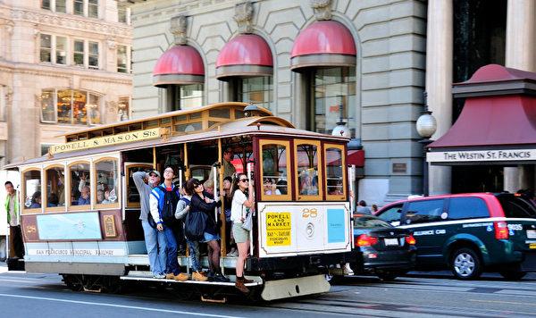 有100多年歷史的舊金山纜車舉世聞名(攝影:曹景哲/大紀元)