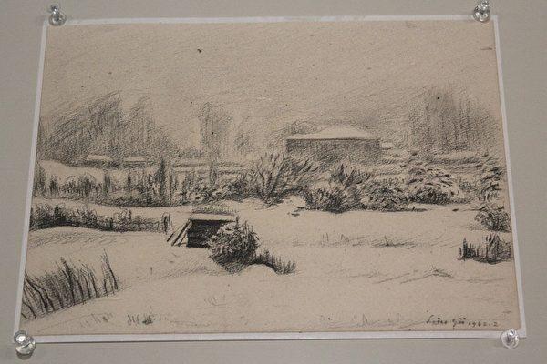 刘煜先生1942年素描作品 大森之雪。(摄影:白亚士/大纪元)