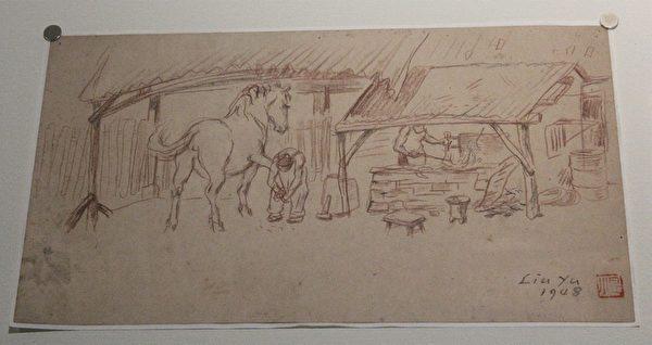 刘煜先生速写草稿 马蹄铁。(摄影:白亚士/大纪元)