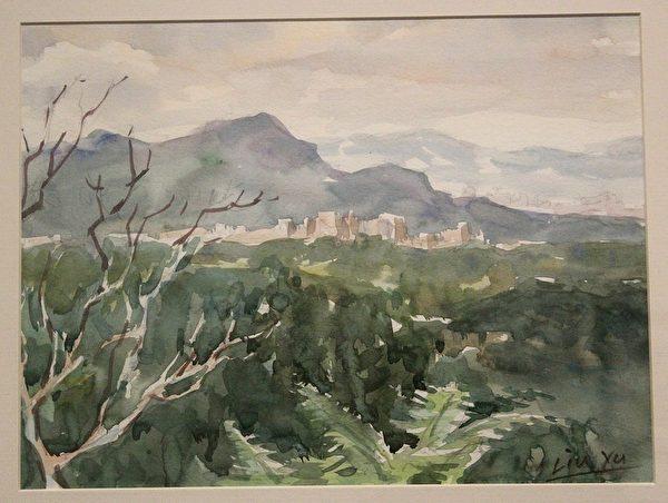 刘煜先生2007年瞭望大尖山 水彩作品。(国立历史博物馆提供)
