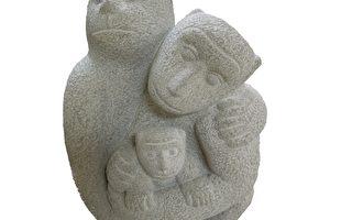 嘉義市石猴藝術戶外創作賽,得獎名單,第一名吳黃杰「溫馨家庭」。(攝影:蘇泰安/大紀元)