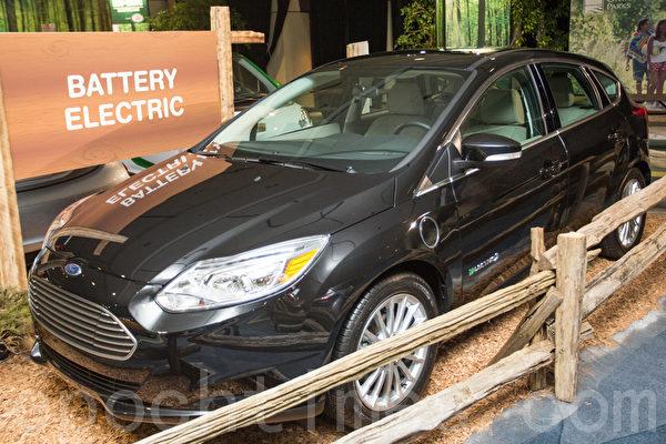2012年款福特Focus电动车是福特首款零二氧化碳排放、无汽油车。(摄影:艾文/大纪元)