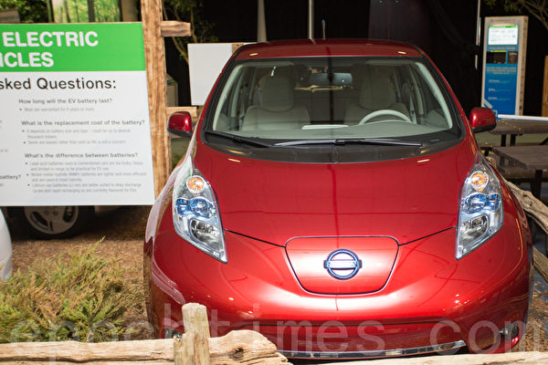自2年前推出零排放车以来,全电动日产Leaf共销售近50,000辆。(摄影:艾文/大纪元)