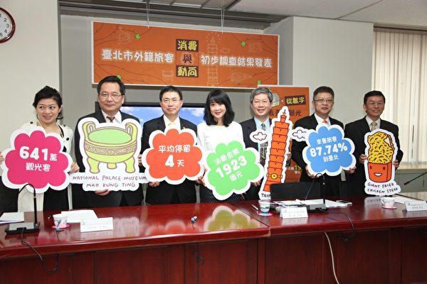 觀傳局長趙心屏(左4)與旅館及旅行業公會代表一起公布外籍旅客在臺北市消費與動向調查結果。(台北市政府提供)