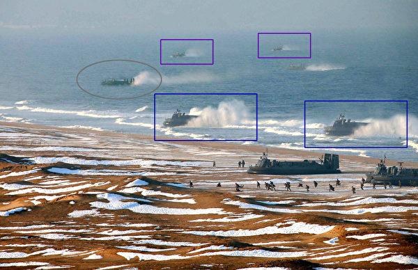 近景中的两艘气垫船(蓝色框)和远景中的两艘(紫色框)应该是两两PS的,最左边的气垫船也有PS的特征。(图片来源:KCNA Via KNS/AFP/Getty Images)