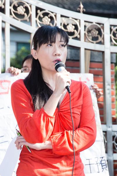 台灣新聞記者協會會長陳曉宜表示,總統應該對反媒體壟斷的訴求表態。(攝影:陳柏州/大紀元)