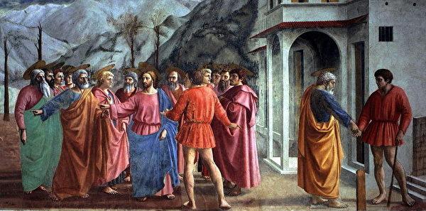 马萨其奥的《圣彼得生平》壁画局部。(公有领域)