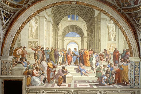 拉菲尔《雅典学院》。(公有领域)