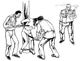 中共酷刑示意圖:性虐待,惡警用電棍電擊法輪功女學員的乳房、陰部,把電棍插入婦女陰道內電擊,連未婚的姑娘也不放過。(明慧網)