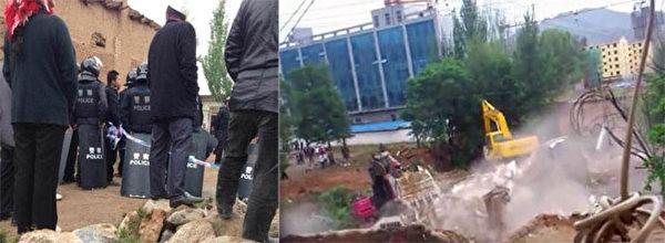 6月5日,青海省化隆縣當局動員近千強拆隊員,進入群科鎮向東村強拆,反抗村民遭特警使用麻醉槍對付,衝突中15名回民被抓捕。之後,當局開動推土機推毀民房。(村民提供)