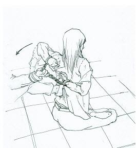 中共酷刑示意图:背后绑手(图片来源:明慧网)
