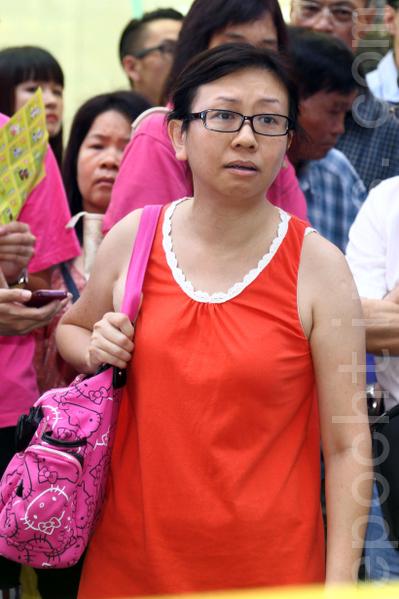 7月14日在旺角街头怒斥青关会打压法轮功而走红网络的林慧思老师。(摄影:潘在殊/大纪元)