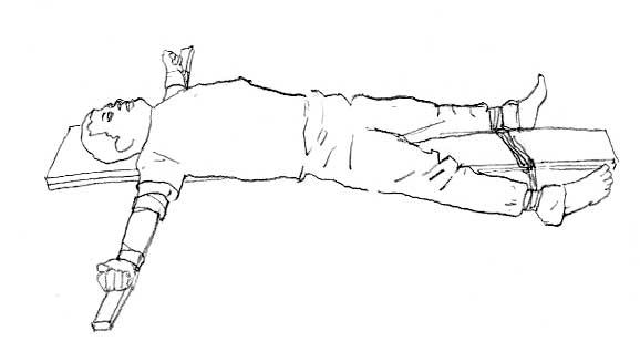 中共酷刑:死人床(圖片來源:明慧網)