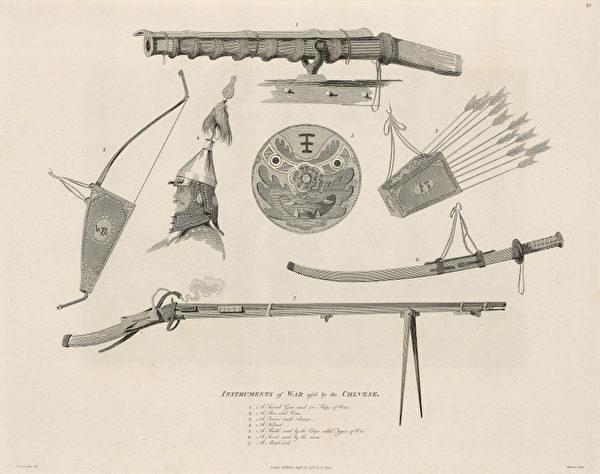 《中國人的兵器》-使團不僅考察了中國的風土人情,還對軍隊的情況進行了詳細的觀察,從亞歷山大的這幅畫中我們可以看到清政府軍隊當時的裝備情況。到半個世紀後的鴉片戰爭時,清政府的軍隊仍然在使用這些裝備,武器裝備的落後成為戰敗的原因之一。圖中依次為戰船上用的火銃、弓、箭、盔甲、盾牌、腰刀和火繩槍。(頑石創意提供)