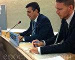 """9月26日西班牙人权律师Carlos Iglésias在联合国第24届人权会议的现场发言指出:""""江泽民在1999年4月政治局会议发言中明确提出的三条严格指示:在名誉上搞臭他们(法轮功修炼者),在经济上搞垮他们,在肉体上消灭他们。就这样,中国开始了对成千上万无辜人们的抓捕,关进劳教营,实施酷刑和谋杀。""""(图片/大纪元)"""