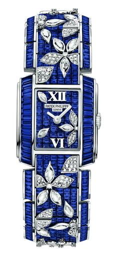 精湛的寶石鑲嵌工藝:以藍寶石和鑽石製作的單件定製錶。(攝影:黃芩/大紀元)
