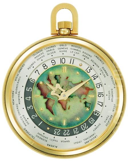 1949年的世界時懷錶,可以展示42個國家的城市和區域。(商家提供)