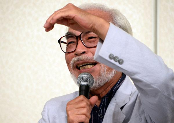 9月6日,72岁的宫崎骏在东京亲自召开记者会,宣布将从制作长片退休。(Ken Ishii/Getty Images)