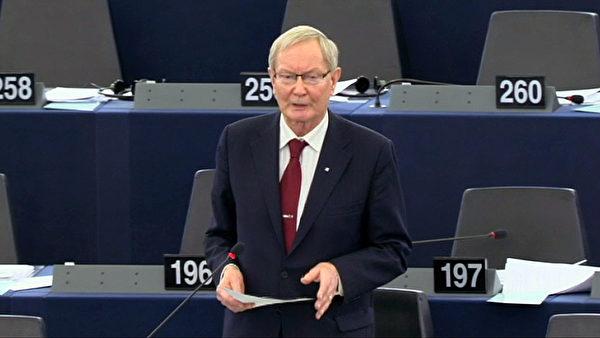 欧洲议会最大党基督教民主党资深议员克兰先生 (Tunne Kelam)在辩论会上发言(欧洲议会网站提供)