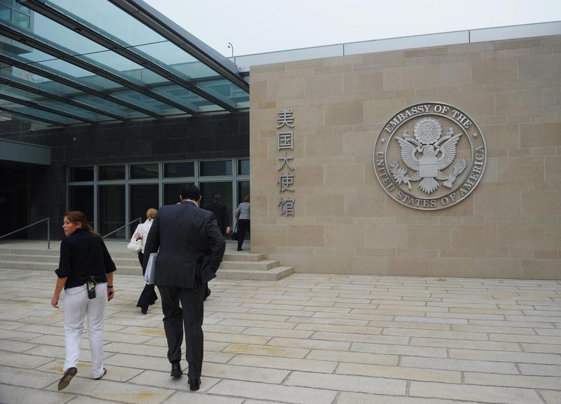 圖為美國駐北京大使館正門。(MANDEL NGAN/AFP/Getty Images)