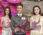 14日林佑威、朱千雪、朱晨麗出席香港一商場新年活動。(余鋼/大紀元)