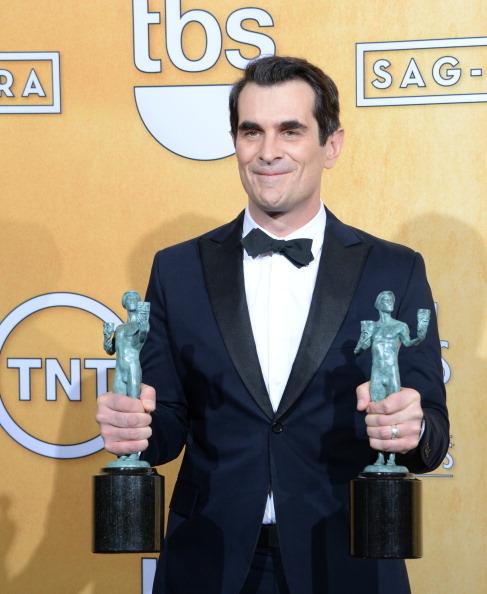 《摩登家庭》泰•布雷尔获喜剧类剧集最佳男演员奖。(JOE KLAMAR/AFP/Getty Images)