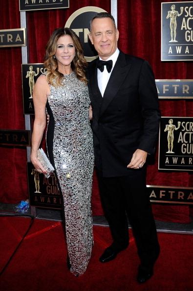 汤姆•汉克斯与演员妻子丽塔•威尔森(Kevork Djansezian/Getty Images)