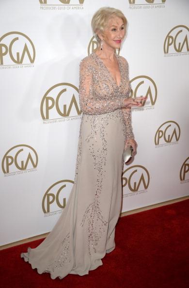 英国演员海伦•米伦出席制片人协会颁奖礼。(ROBYN BECK/AFP/Getty Images)