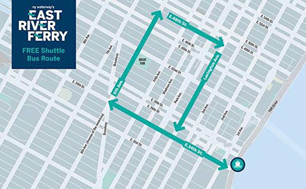 东河轮渡在曼哈顿34街码头的免费班车路线。(图/East River Ferry提供)