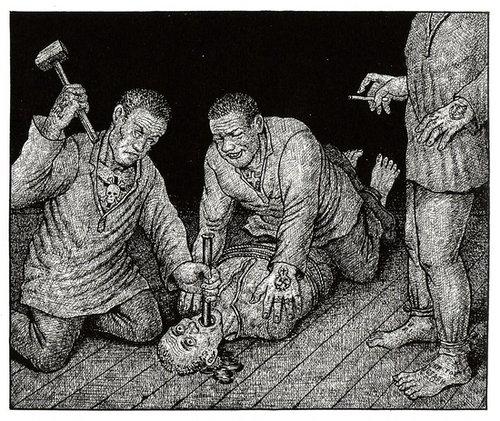 俄国人丹齐克‧巴尔丹夫根据亲身经历和采访所创作的《来自古拉格的图画》:苏联囚犯遭钉嘴。(网络图片)