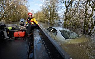 組圖:惡劣天氣來襲 英西南部洪水成災