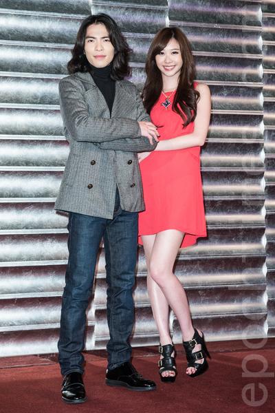 2014年3月4日,萧敬腾(左)、张景岚于台北出席电影《大宅们》杀青宴。(陈柏州/大纪元)
