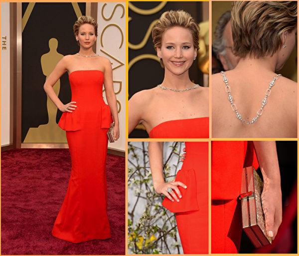 去年影后詹妮弗•劳伦斯以红色合身礼服走红毯,Neil Lane钻石项链价值200万。(大纪元合成图/Getty Images)
