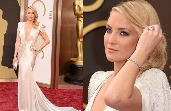 凯特•哈德逊穿Atelier Versace 垫肩礼服,俐落霸气。(大纪元合成图/Getty Images)