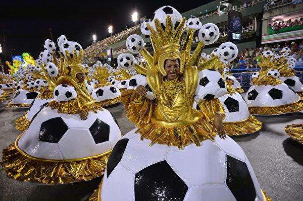 巴西里約熱內盧狂歡節遊行一景。(YASUYOSHI CHIBA/AFP)