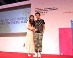 李國毅與任容萱以華流大使身分出席2014香港國際影視展台灣館開幕酒會。(三立提供)