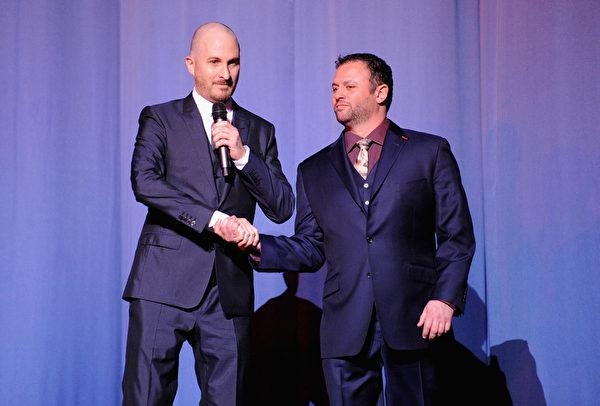 2014年3月31日,《诺亚方舟》导演达伦•阿罗诺夫斯基与制片人斯科特•弗兰克林出席伦敦首映礼。(Dave J Hogan/Getty Images for Paramount Pictures International)