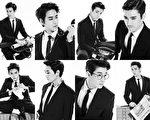 SUPER JUNIOR-M以黑白色系西装轻熟型男展现帅气推出最新迷你专辑《SWING》。(BENNY提供)
