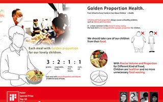 """为了替学童饮食把关,北科大学生设计""""黄金比例餐盘 """",以餐盘分隔出各类食物摄取比例,获德国iF设计奖 的Haier特别奖。 (北科大提供)"""