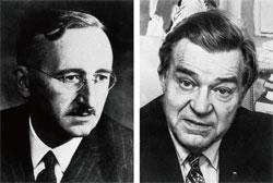 海耶克(左)与同为一九七四年获得诺贝尔经济学奖的纲纳.缪达尔(Gunnar Myrdal)(右)。(AFP)