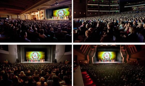 2014年3月11日至30日,神韵令世界影艺之都洛杉矶为之倾倒,16场演出场场爆满。图为神韵在大洛杉矶剧院演出爆满盛况:橙县演艺中心(右下)、洛杉矶诺基亚剧院(右上)、千橡市民艺文广场(左下)和圣巴巴拉格兰纳达剧院(左上)。(季媛/大纪元)